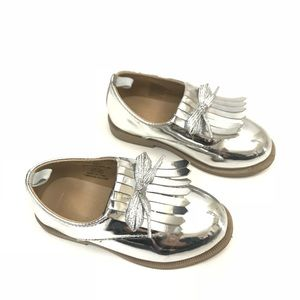 Crazy8 | toddler girls oxford silver flats